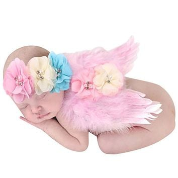 Baby Newborn Photography Props Crochet Knit Beaded Cap Headband Baby Hat Outfits