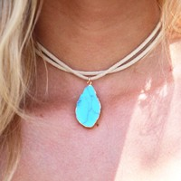 Talk For Hours Choker In Turquoise | Monday Dress Boutique