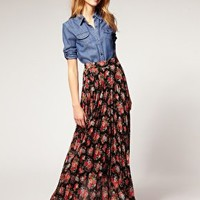 ASOS | ASOS Floral Printed Pleat Maxi at ASOS