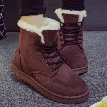 2016 New Warm Winter Boots For Women Ankle Boots Waterproof Snow Girls Boots Female Shoes Suede with Plush Insole Botas Mujer Coffee