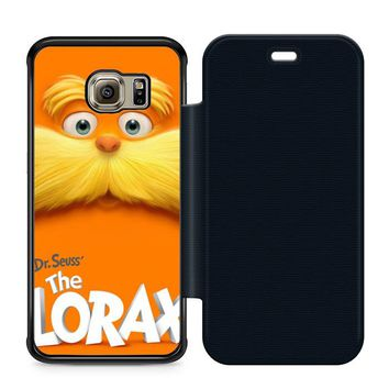 Dr Seuss Lorax Face Leather Wallet Flip Case Samsung Galaxy S6 Edge
