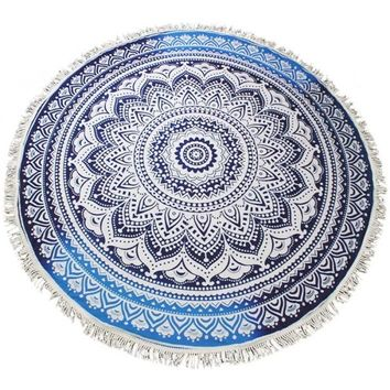 Fringed Jumbo Round Cotton Beach Towel with Tassels - Ombre Blue