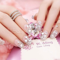 Nail patch false nails patch bride drilling section fake nails glitter nail transparent finished piece 24pcs / lot