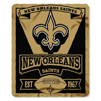 New Orleans Saints NFL Light Weight Fleece Blanket (Marque Series) (50inx60in)