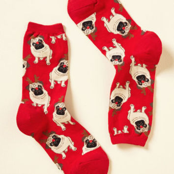 Ruff on the Housetop Socks in Red | Mod Retro Vintage Socks | ModCloth.com