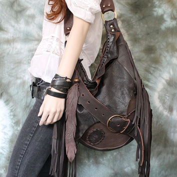 Dark brown leather pirate style bag hobo bag fringe hobo unique purse free boho people bohemian sweet smoke fringed gypsy festival studded