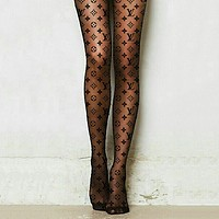 LOUIS VUITTON Fendi Balenciaga LV Gucci Hot women sexy printed silk stockings black