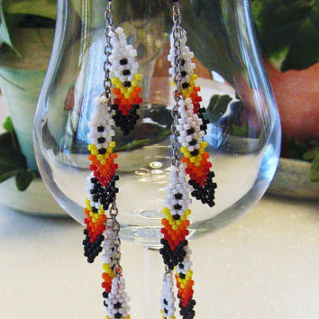 Hand Beaded Fire Colors Feather Dangle Shoulder Duster Earrings On Silver Chain//Native American Inspired Dangle Earrings//Gifts For Her