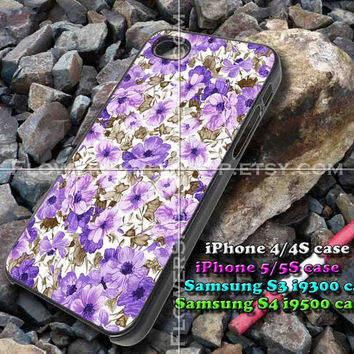 flowers purple iphone case, iphone 4/4S, iphone 5/5S, iphone 5c, samsung s3 i9300, samsung s4 i9500, design accesories