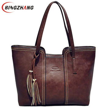 2016 New Women Messenger Bags With Tassel Famous Designers Leather Handbags Large Capacity Women Bags Shoulder Tote Bags L4-2111