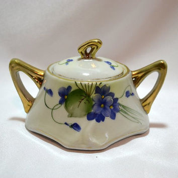 Nippon Sugar Bowl - Hand painted African Violets - Gold Gilt Trim - Double Handled & Lid - Early Te - Oh China