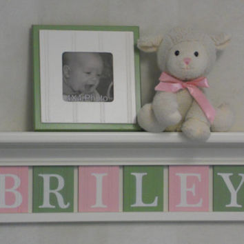 "Pink Green Nursery Wall Art - Children Name Nursery Decor 24"" Linen White Shelf / Sign 6 Wooden Letters Personalized for BRILEY"