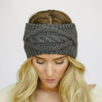 Gray Diamond Front Design Cable Knit Ear Warmer Headband. Winter Accessories