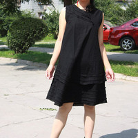 Linen Many pleated Sleeveless dress