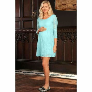 Mint Blue Stretchy Lace Empire Waist Sleeved Dress - Women Maternity