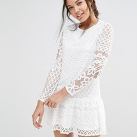 Missguided Long Sleeve Frill Hem Lace Dress