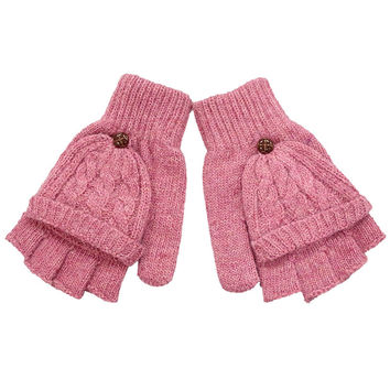 New brand 2015 Hot  Women Warmer knitted  Winter Fingerless Gloves Mittens Grey Beige Khaki Pink