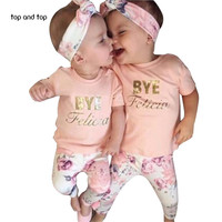 baby girl clothes Flower letter Pattern short sleeve t shirt + pants+scarf 3pcs suit newborn baby girl clothing set