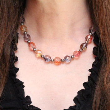 fall fashion necklace / czech glass bead necklace / silver freshwater pearls / chunky necklace jewelry for her / vintage look