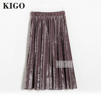 KIGO Spring Autumn Retro Fashion Women Pleated Skirt High Waist Vintage Purple Velvet Skirt Elegant Midi Skirt Saia KH2366H
