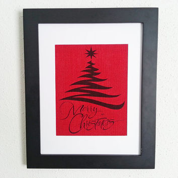 Modern Christmas Tree Merry Christmas 11x14 Framed Burlap Print