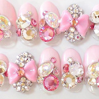 3D Cute Pink Bow Blink SWAROVSKI Pink French