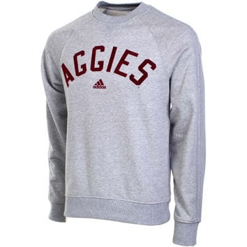Texas A&M Aggies adidas Retro Fleece Crew Neck Sweatshirt – Gray