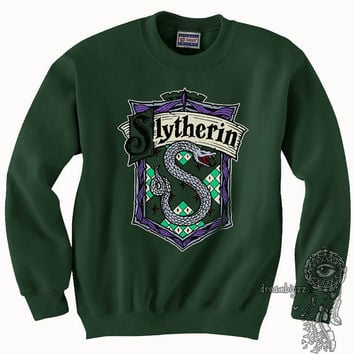 Slytherin Crest #2 Fullcolor printed on Forest Green Crew neck Sweatshirt