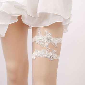 Women Bridal Garter Lace Floral Pearl Rhinestone ivory Wedding Party Bride Leg Garter Belt Suspender Wedding Accessory