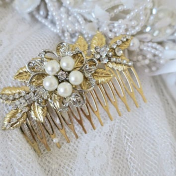 Antique Gold Hair Comb Bridal Hair Comb Gold Wedding Headpiece Leaf Hair Comb Vintage Style Hair Comb Rhinestone Headpiece Pearl Crystal