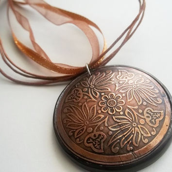 Copper medallion Boho charm necklace by ACAmour on Etsy