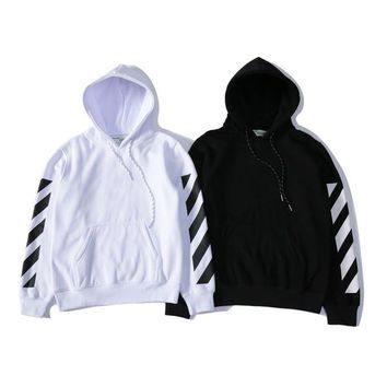 Top Brand OFF WHITE Mens Pullover Stripe Offset Print Hoodies Fleece Sweatshirts Brand Vision Religion Painting