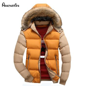 free shipping men winter down jacket coat with fur collar plus size  M-3XL men's parka 80