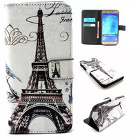 Eiffel Tower Print Leather Case Cover Wallet for iPhone & Samsung Galaxy