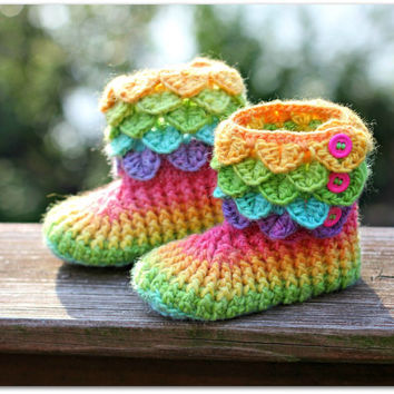 Crochet PATTERN Crocodile Stitch Boots Child by bonitapatterns