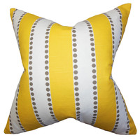 The Pillow Collection Odienne Stripes Cotton Pillow