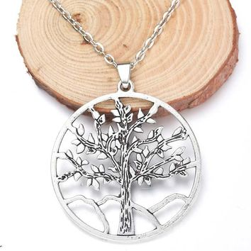 High Quality 43x45mm Fine Alloy Tree of Life Pendant Necklace Jewelry Ancient Silver Living Tree Jewelry Men and Women Gift