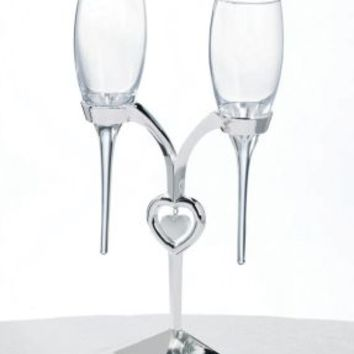 Lillian Rose™ Silver Heart Champagne Toasting Flutes Set