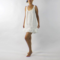 Linen Sleeping Dress with Ruffles