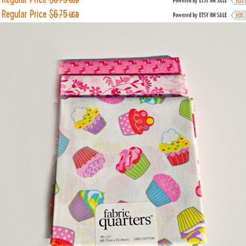 YEAR END CLEARANCE Cupcake Fat Quarters Bright Color Fabric Pink Fabric accents Fat Quarters Set of 3