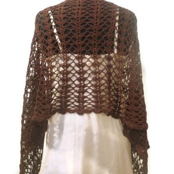 Brown crochet shawl, drapy wrap, evening wear, wedding shawl