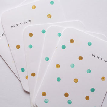 Hello Note Cards - Gold & Turquoise Confetti