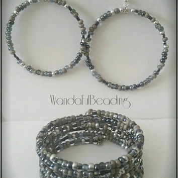 Czech Natural Hematite Mix Memory Wire Bracelet & Earring Set - $17.00 - Handmade Jewelry, Crafts and Unique Gifts by WandaFulBeading