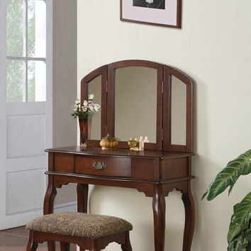Poundex F4066 3 pc cherry brown finish wood make up bedroom vanity set with curved legs stool and tri fold mirror