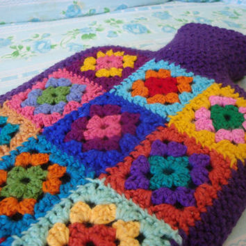 Hot Water Bottle Cover - Granny square, crochet. Winter Snuggly. A Custom make to suit your style.