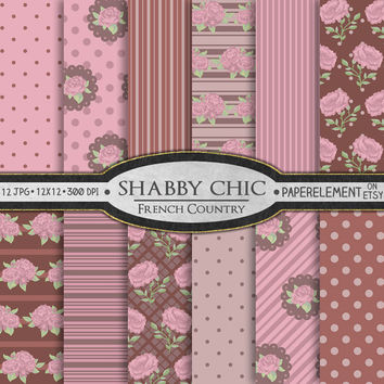 Digital Shabby Chic Paper: French Country Shabby Chic Roses Scrapbook Paper - Printable Shabby Digital Paper Backgrounds in Pink and Brown