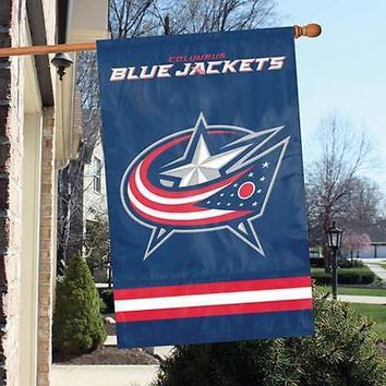 """Columbus Blue Jackets 44"""" x 28"""" Applique and Embroidered 2-Sided Banner/Flag"""
