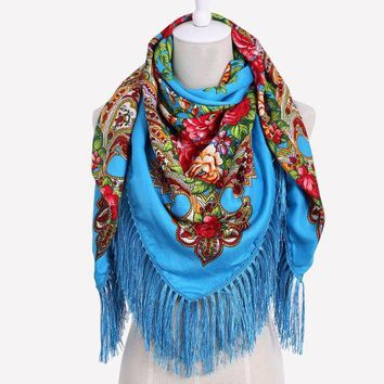 DCCKU62 HOT Sale Russian Brand New Fashion Big Size Square Scarf Cotton Long Tassel Print Scarf in Spring Winter Shawl For Women floural