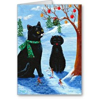 Funny Christmas Cat Mouse Creationarts Greeting Cards