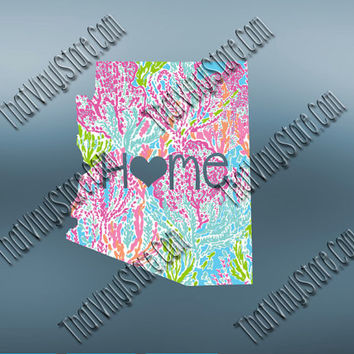 Arizona Preppy Pattern State Decal | Arizona Heart Home Decal | I Love Arizona Decal | Homestate Decals | Love Sticker | 043